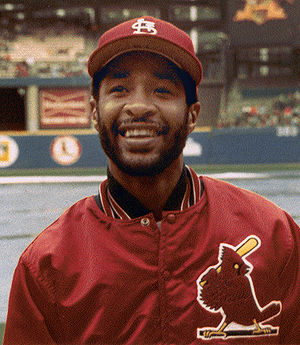 Professional baseball player Ozzie Smith is sh...